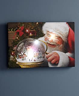 The Lakeside Collection Santa's Snowglobe Artistic Christmas Wall Picture - Holiday Home Decoration