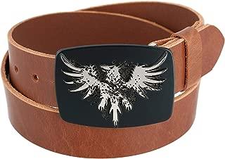CTM Men's Leather Bridle Belt with Phoenix Belt Buckle (2 Buckle Set)
