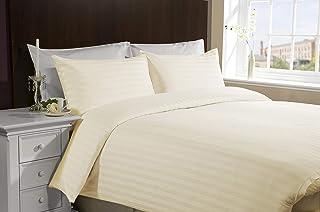 IBed HomeHotel Wide Stripe 3Pcs Bed sheet Set,300TC Cotton, King Size, cream