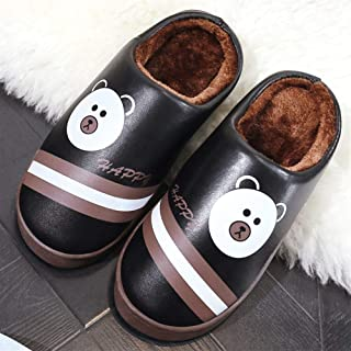 Slippers Men Winter Home Indoor Cotton Slippers Waterproof Thick Bottom Non-Slip Cute Couple Cotton Slippers Slippers Anti-Skid Indoor Cosy Shoes (Color : Coffee, Size : 290)