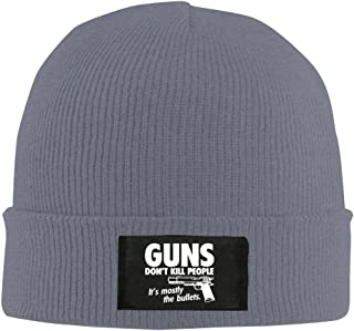 Guns Don't Kill People It's Mostly The Bullets Winter Warm Knit Cap Beanie Hat Ash