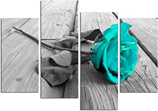 Grepova Art - Black White Floral Flower Teal Modern 4 Panels Decorative Painting Canvas Wall Art for Home and Office Decoration Ready to Hang