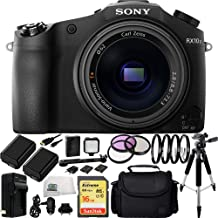 Sony DSC-RX10 II DSC-RX10M II DSC-RX10 Mark II DSCRX10M2/B Cybershot 20.2 MP Digital Still Camera with 3-Inch LCD Screen Bundle. Includes SanDisk 16GB Extreme SDHC Class 10 Memory Card (SDSDXN-016G-G46) + 2 Replacement FW-50 Batteries + AC/DC Rapid Home & Travel Charger + 3PC Filter Kit + 4PC Macro Filter Set + LED Light Kit + Full Size Tripod + Micro HDMI Cable + Carrying Case + Microfiber Cleaning Cloth