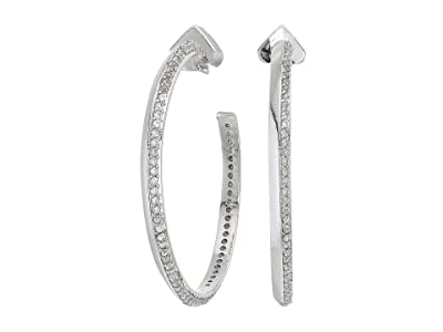 Kate Spade New York Raise The Bar Pave Hoops Earrings (Clear/Silver) Earring