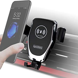 Auto Handyhalterung mit kabellosem Ladegerät, Wireless Car Mount Charger, Schnellladegerät, Induktionsladegerät für alle iPhone, Samsung Galaxy, Huawei, LG mit Qi Standard (schwarz)