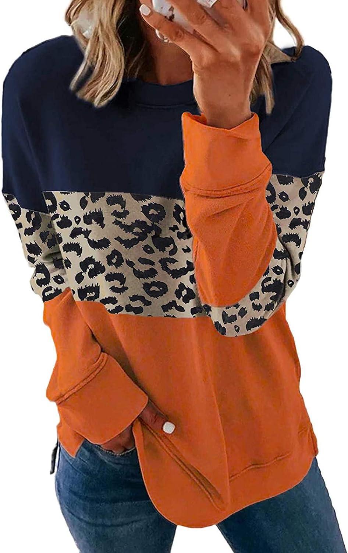 Tiksawon Womens Casual Crewneck Long Sleeve Color Block Fashion Sweatshirt Striped Loose fit Side Split Pullover Tops Shirts