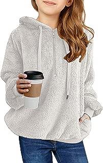 GRAPENT Girls Hooded Fuzzy Fleece Pocket Pullover Jacket Outwear Top 4-11 Years