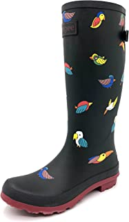 7f8d47eda67bd Rongee Women's Rubber Rain Boots Rainboots Women Ladies Printed with  Adjustable Gusset Oxford Bag Packed