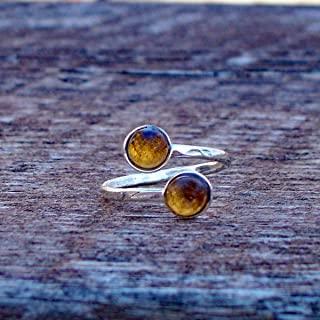 Recycled Vintage Amber Bleach Jug Hammered Sterling Silver Adjustable Bypass Ring