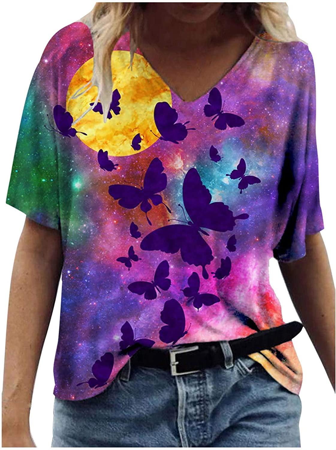 FABIURT Summer Tops for Women,Womens Fashion Gardient Color Printed Short Sleeve V Neck T Shirts Casual Tie Dye Blouses