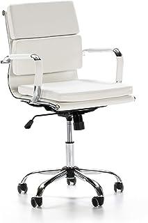 VS Venta-stock Sillón de Oficina Fenix reclinable Blanco, Piel sintética, Silla ejecutiva con conjín engrosados, Altura Ajustable, Diseño ergonómico