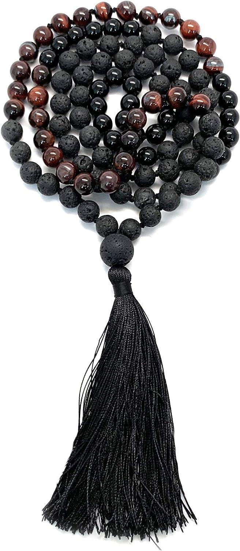 Aspen & Eve 108 Bead Malas - Mala Necklace & Bracelet with Tassel - 8mm Stone Beads - Strand 108 Beads Necklace for Mindfulness & Yoga