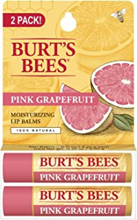 Burt's Bees 100% Natural Moisturizing Lip Balm, Pink Grapefruit with Beeswax & Fruit Extracts - 2 Tubes