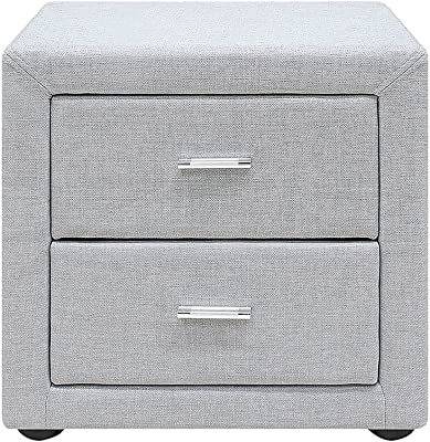 Modern Square top Bedside Table with 2 Drawers in Light Grey Colour - Yucad