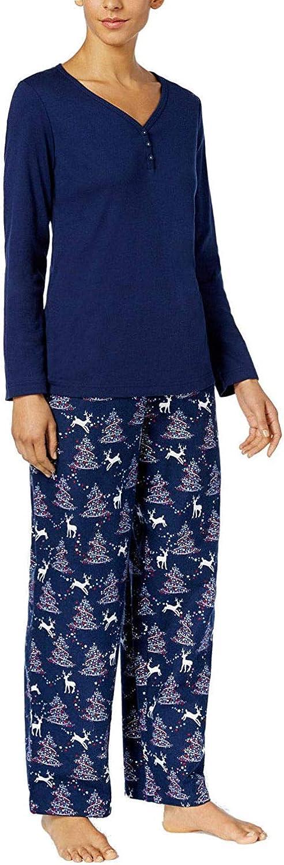 Charter Club Flannel Mix It Top & Printed Pants Pajama Set Women's