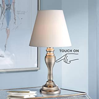 "Thom Traditional Desk Table Lamp 19 1/4"" High Brass Candlestick White Bell Shade Touch On Off for Bedroom Bedside Office - Regency Hill"