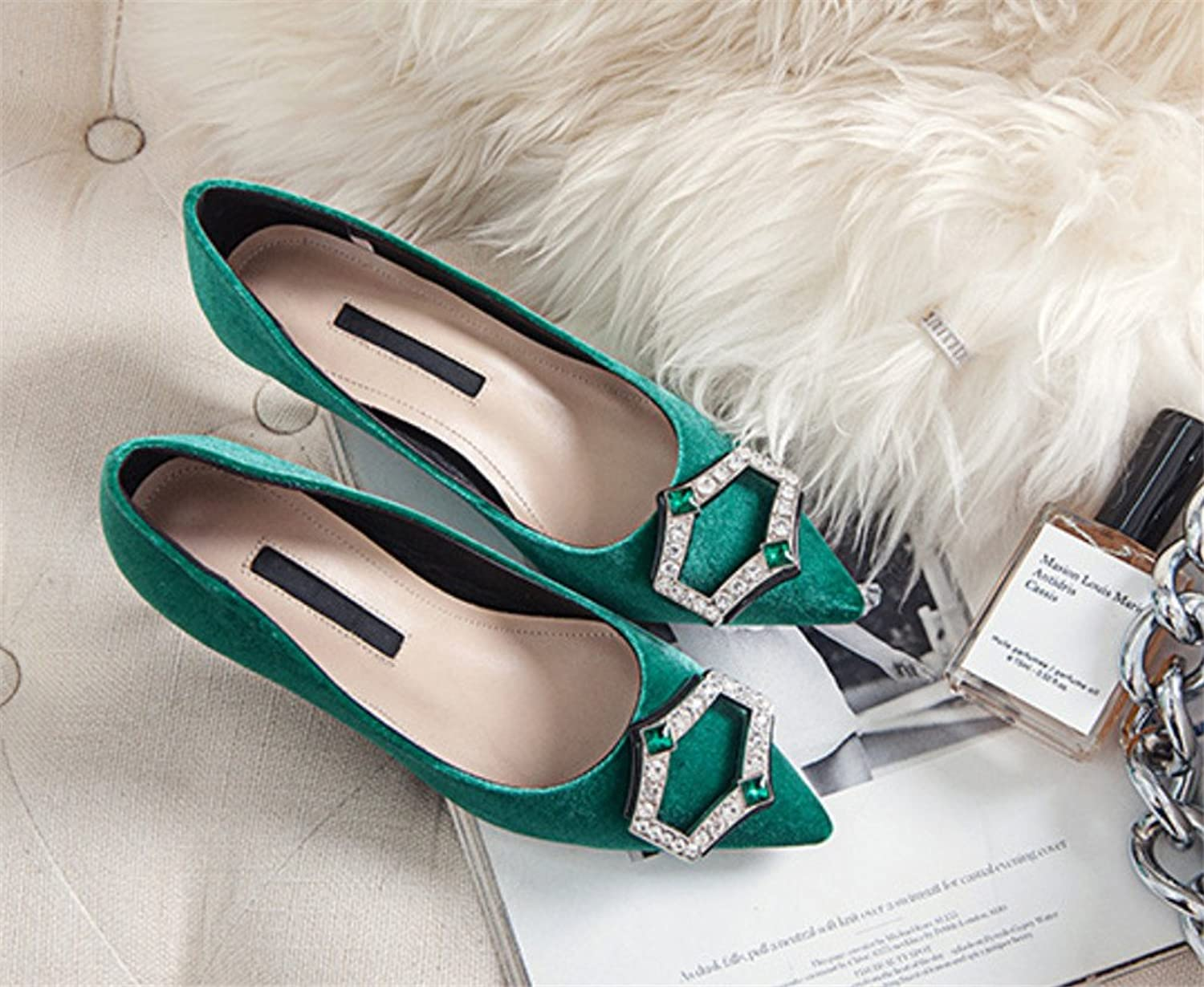 High Heels Rhinestone Sandals Ladies Office Bridal Party Hippie Office Style 4 Seasons Stiletto Heel Oversized shoes,Green,EU41