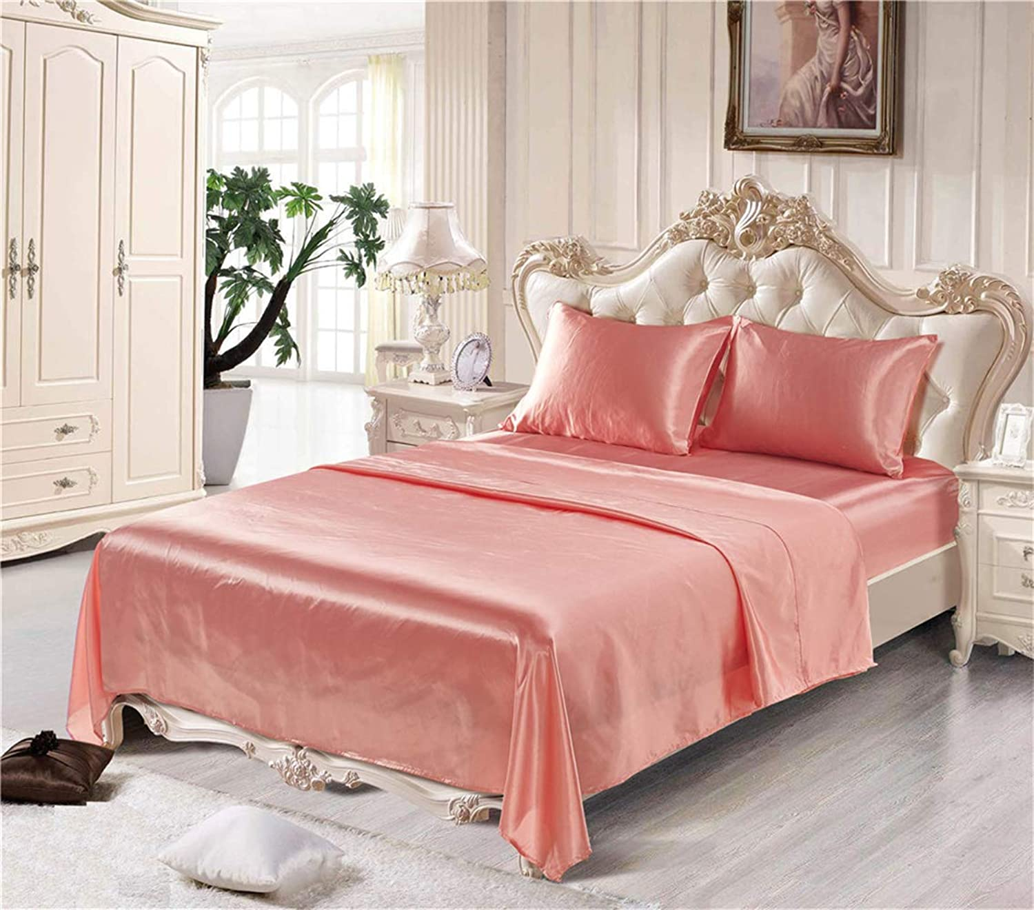 Kokolife Silky Bed Sheet Set 3 Piece Pure color Luxurious Sheet and Pillowcase Bedding Sets(Pink, Twin)