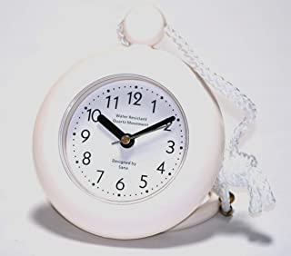 Our White Bathroom Shower Rope Clock with a Clear Easy to Read Clock face is Water-Resistant and Engineered with a Superior Quartz Movement and Turning Second Hand for Accurate timekeeping