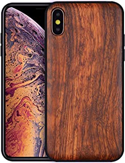 Boogice iPhone Xs Max Wooden Case - Real Walnut,Lightweight Dual Layer Unique Protective Cover with Natural Wood and Hybrid Rubber for iPhone XsMax(Rosewood)