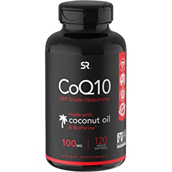 CoQ10 Enhanced with Coconut Oil & Bioperine (Black Pepper) for Better Absorption   Vegan Certified and Non-GMO Verified   120 Veggie-gels, 4 Month Supply!