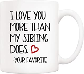 5Aup Christmas Gifts Funny Mom and Dad Coffee Mug from Daughter Son, I Love You More Than My Sibling Does Your Favorite Mothers and Fathers Day Cups 11 Oz Birthday Gifts for Father Mother