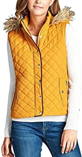 StyLeUp Women's Quilted Padded Suede Piping Detail Jacket & Vest