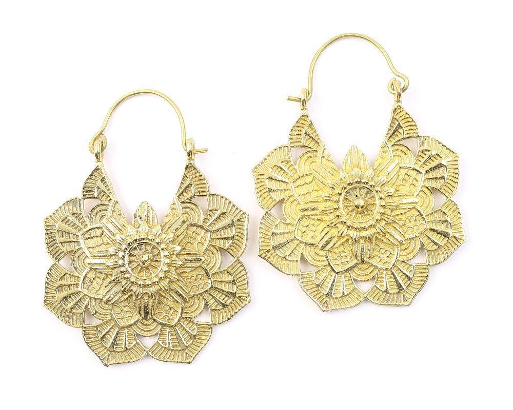 Sale Mandala Brass Earrings Silver Tribal Flower Mandalas Over item handling