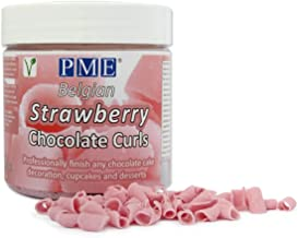 PME Belgian Strawberry Chocolate Curls for Decorating Cakes Muffins Cupcakes 85g