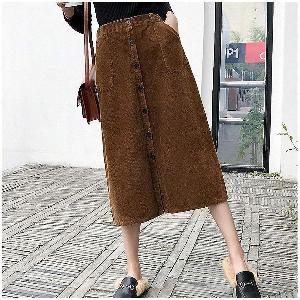 Dawery Corduroy Skirts Women Autumn Winter Skirts Medium Long A-Line Skirt High Waist Button Casual Women's Clothing