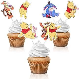18pcs Winnie the Poo Birthday Cupcake Toppers - Cartoon Disney Party Glitter Winnie Friends Cupcake Supplies - Kids Birthd...