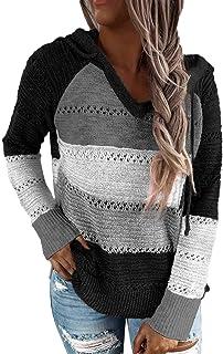 MFFACAI Suéter de Las Mujeres Suéter de Punto Sudadera con Cuello en V Sudadera con Capucha a Rayas Suéter Tops de otoño T...