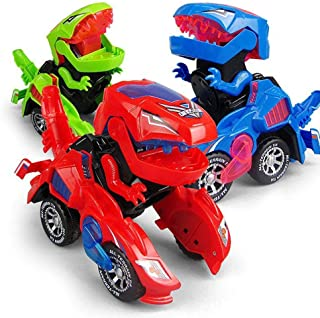GRAWILLE Transforming Dinosaur LED Car Dinosaur Transform Car Toy Automatic Dino Dinosaur Transformer Toy Car for Kids 3+ Years Old (Red)