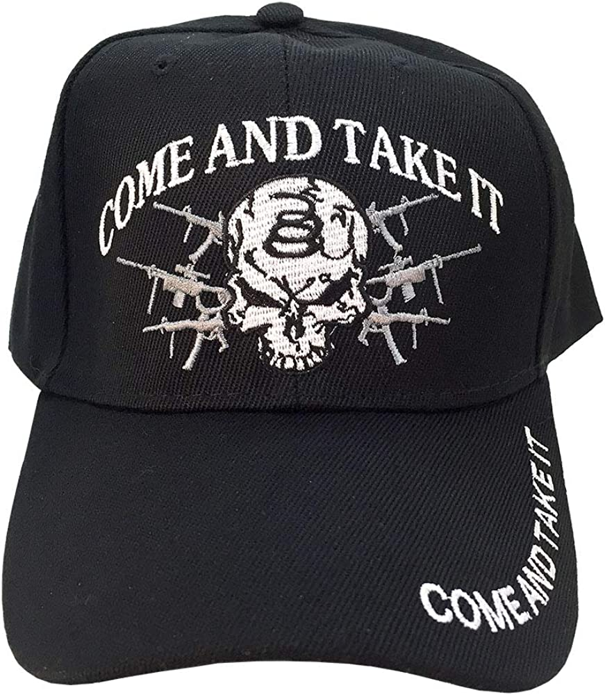 AborenCo Come and Take It 2nd Amendment with Gun and Skull Embroidery Baseball Hat Cap