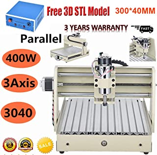 NOPTEG 3 Axis CNC 3040 Router Engraver 400W Desktop Engraving Drilling Milling Machine Drill Wood DIY Artwork 3D Cutter (3 Axis 3040 400W)