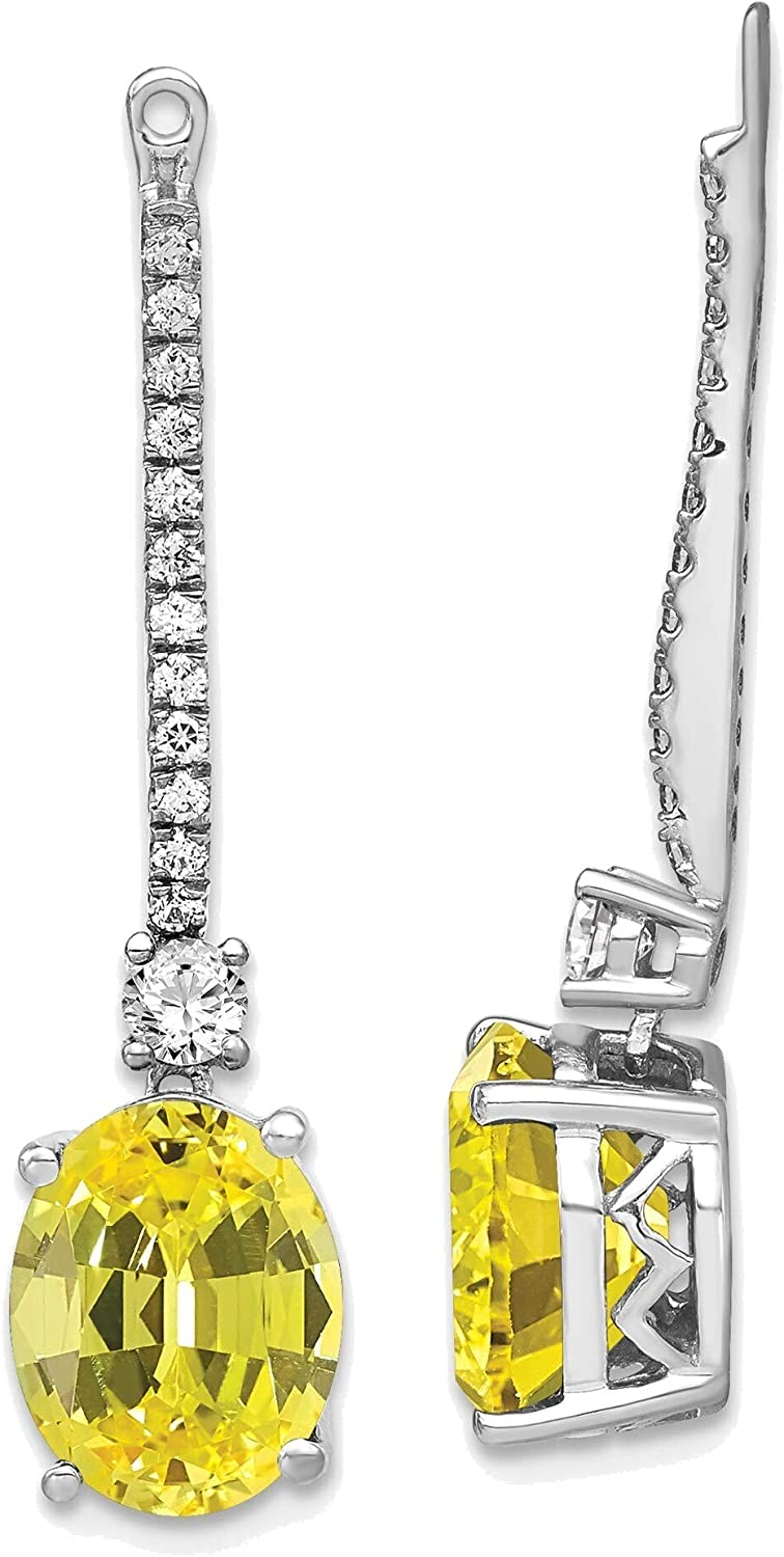 14kt White Gold Lab Grown Diamond & Created Yellow Sapphire Earring Jackets