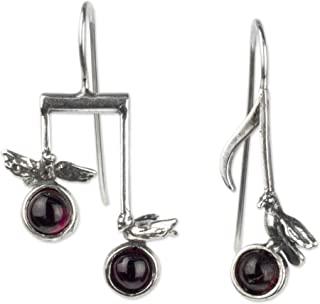 Garnet and .925 Sterling Silver Musical Note Dangle Drop Earrings, Red Bird Songs'