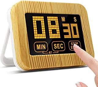VOIMAKAS Kitchen Timer, LCD Touch Screen Digital Count-Up & Count DownTimer Backlight Cooking Timer with Magnetic, Bracket Stand and Loud Alarm for Cooking Baking Studying Sports Games Office