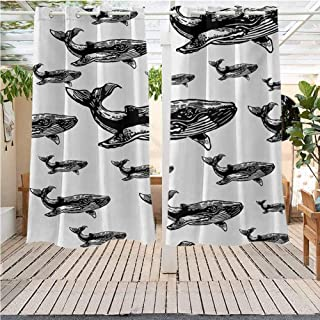DONEECKL Whale Home Patio Outdoor Curtain Hand Drawn Artistic Striped Blur Swimming Schoal of Huge Whales Work of Art Waterproof Patio Door Panel W63 x L45 inch Black and White