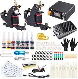Stigma Professional Tattoo Machine Kits 7Inks Foot Pedal 2Pro Coil Machine for Sharder,Liner TK-ST 203