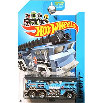Hot Wheels 2014 HW City 5 Alarm Fire Engine Truck Ladder Blue