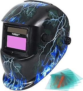 Yorbay Casco de soldadura Soldadores máscara de oscurecimiento automático de solar con 5 lentes de repuesto