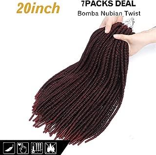 7Packs Bomba Nubian Twist 20inch Goddess Faux Locs Crochet Hair BraidsStraight Faux Locs Crochet Twist Braiding HairDreadlocs Crochet Braids 14Roots (20inch, 99J#)
