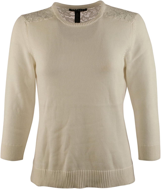 Lauren Ralph Lauren Women's Lace Trim Crewneck SweaterPXS