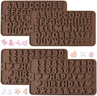 Silicone Chocolate Mold, AFUNTA 2 Pcs Silicone Letter Molds and 2 Pcs Number Chocolate Molds with Happy Birthday Cake Deco...