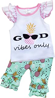 Girls or Toddler Deluxe Novelty Ruffle Summer Boutique Shorts Outfit