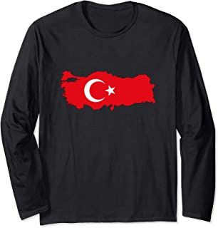 TURKEY - Country Outline & Flag Long Sleeve T-Shirt