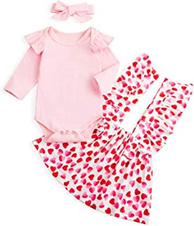 Sinhoon Baby Girl Valentine's Day Skirt Outfits Toddler Girl Ruffle Romper+Short Suspender Dress+Headband 3Pcs Clothes