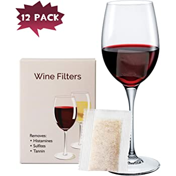 YARKOR Wine Filter Can Stops Red Wine Headaches Nausea (12 Packs), Wine Allergy Sensitivity Prevention. It Does So by Reducing The Excess Levels of Tannin Acid and Other Proteins