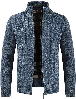 WOCACHI Mens Sweater Zipper Coat Jumper Thicken Jackets Outerwear Cardigans